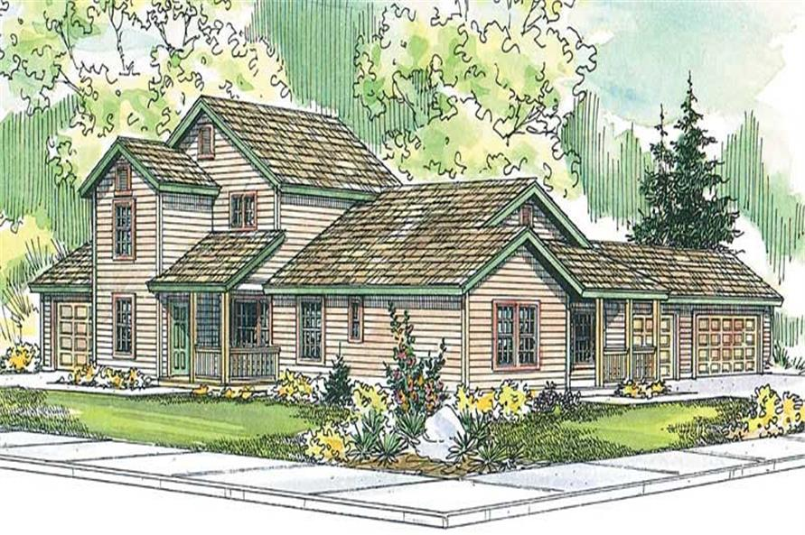 3-Bedroom, 1343 Sq Ft Country Home Plan - 108-1576 - Main Exterior