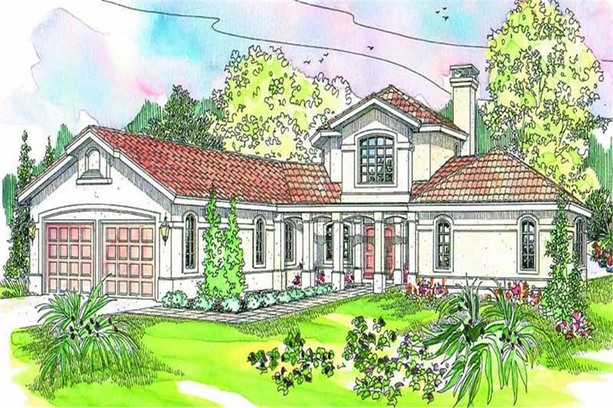Front elevation of Southwest home (ThePlanCollection: House Plan #108-1582)