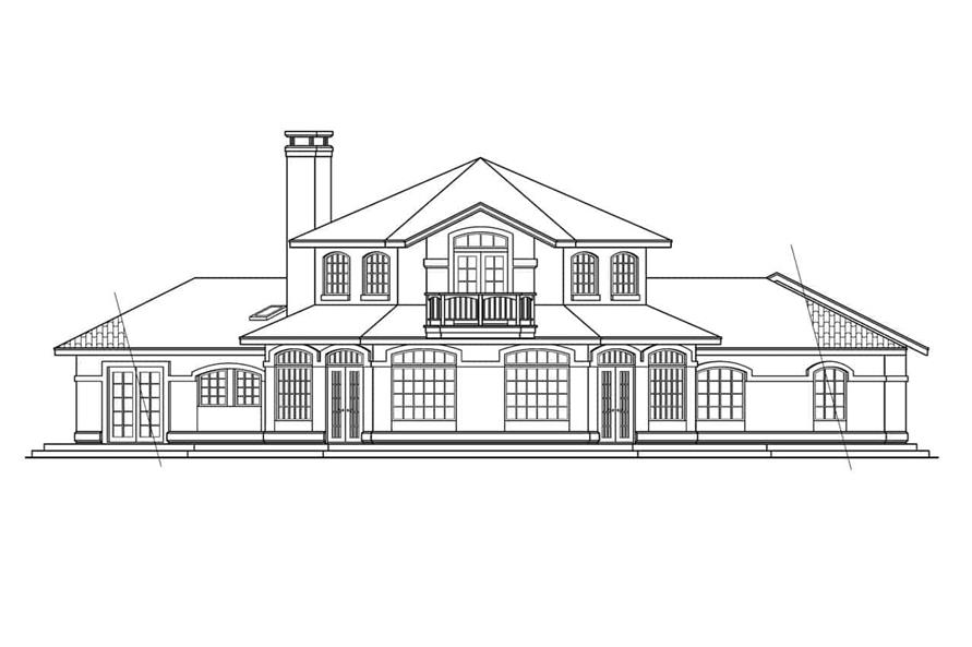 Home Plan Rear Elevation of this 3-Bedroom,2979 Sq Ft Plan -108-1582