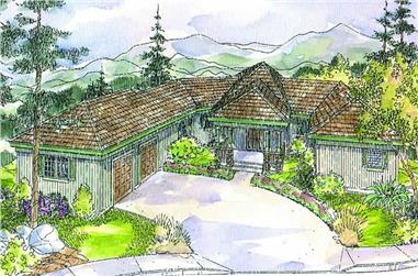 Front elevation of Craftsman home (ThePlanCollection: House Plan #108-1589)