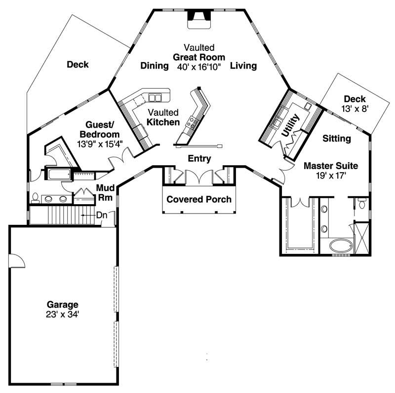 Craftsman Ranch Home With 2 Bedrms 2385 Sq Ft Plan