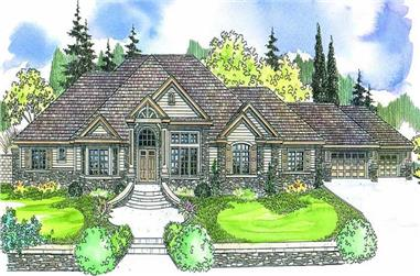 4-Bedroom, 4901 Sq Ft European Home Plan - 108-1601 - Main Exterior