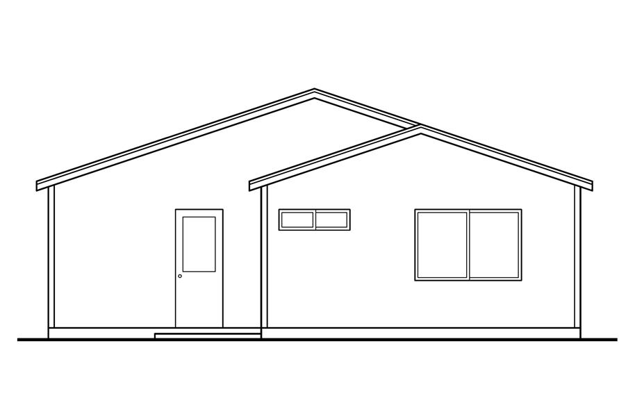 Home Plan Rear Elevation of this 3-Bedroom,1237 Sq Ft Plan -108-1611