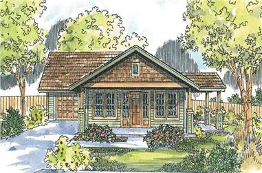 Front elevation of Craftsman home (ThePlanCollection: House Plan #108-1612)