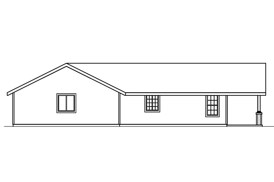 Home Plan Left Elevation of this 2-Bedroom,1321 Sq Ft Plan -108-1612