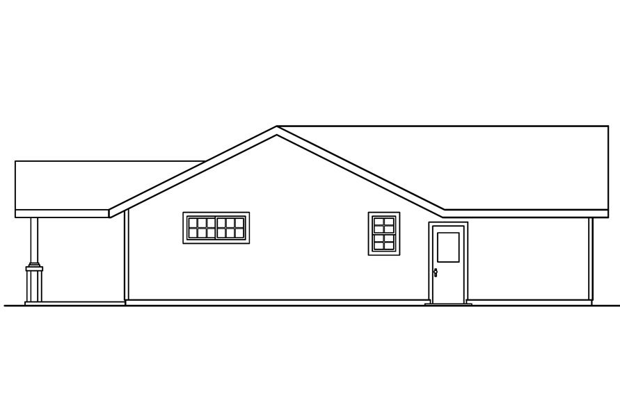 Home Plan Rear Elevation of this 2-Bedroom,1321 Sq Ft Plan -108-1612