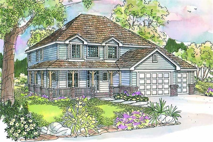 4-Bedroom, 2777 Sq Ft Country House Plan - 108-1617 - Front Exterior
