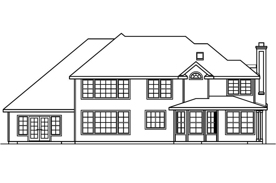 Home Plan Rear Elevation of this 5-Bedroom,4350 Sq Ft Plan -108-1619