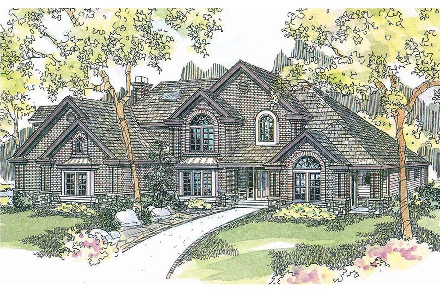 5-Bedroom, 4350 Sq Ft European House Plan - 108-1619 - Front Exterior