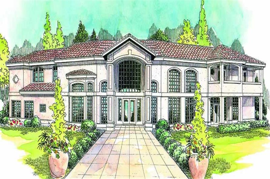 3-Bedroom, 3509 Sq Ft Mediterranean Home Plan - 108-1620 - Main Exterior