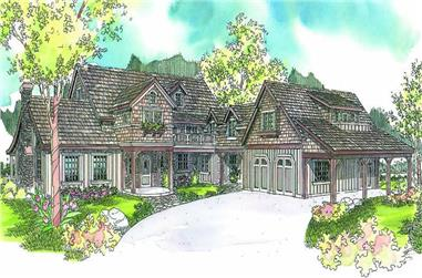 5-Bedroom, 4862 Sq Ft European House Plan - 108-1625 - Front Exterior