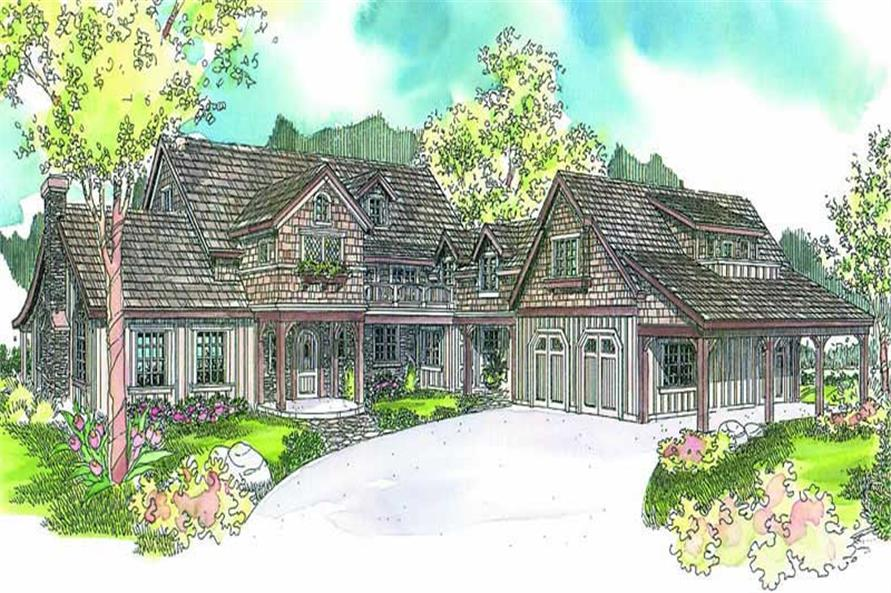 5-Bedroom, 4862 Sq Ft European House Plan - 108-1625 - Front Exterior
