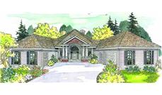 This image shows the Contemporary Ranch Style of this set of house plans.