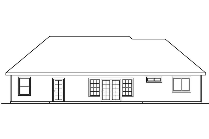 Home Plan Rear Elevation of this 3-Bedroom,2174 Sq Ft Plan -108-1627