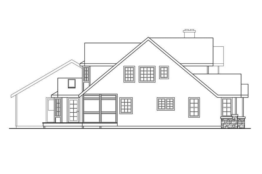 Home Plan Left Elevation of this 4-Bedroom,3291 Sq Ft Plan -108-1633