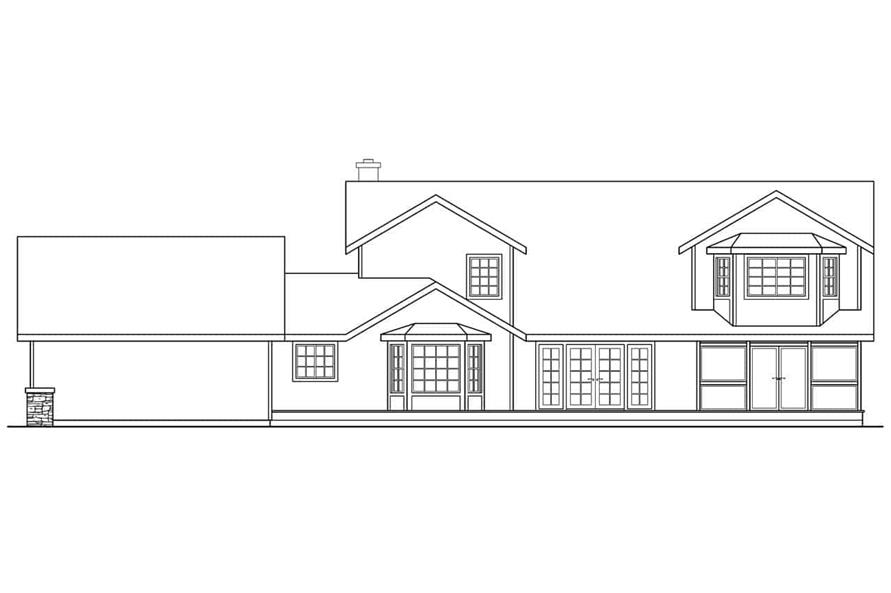 Home Plan Rear Elevation of this 4-Bedroom,3291 Sq Ft Plan -108-1633