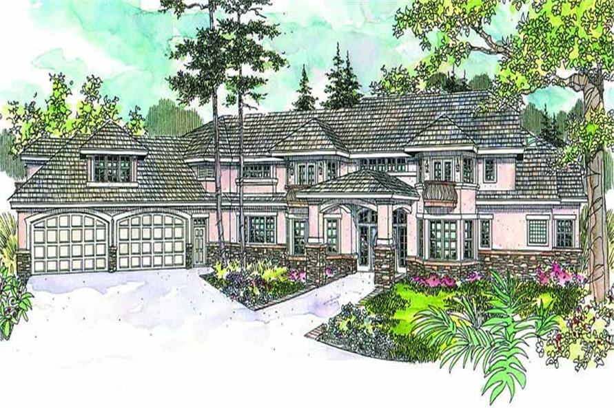 3-Bedroom, 5389 Sq Ft European House Plan - 108-1634 - Front Exterior