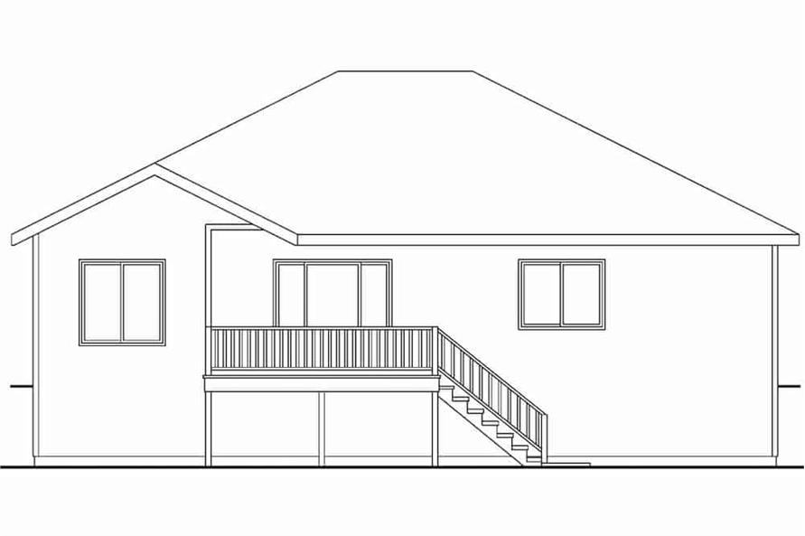 Home Plan Rear Elevation of this 3-Bedroom,1467 Sq Ft Plan -108-1636