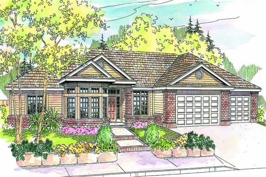 3-Bedroom, 2653 Sq Ft Ranch Home Plan - 108-1643 - Main Exterior