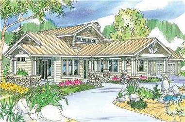 This a colored front elevation of these Craftsman houseplans.