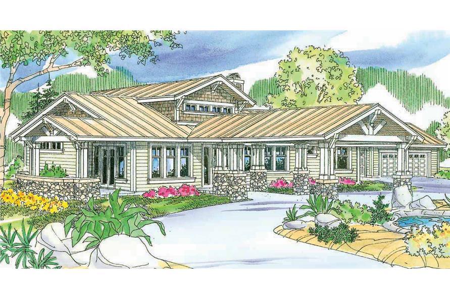 2-Bedroom, 3086 Sq Ft Craftsman Home Plan - 108-1646 - Main Exterior
