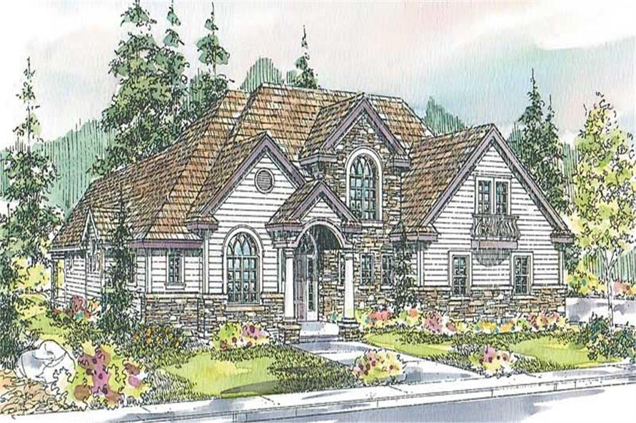 3-Bedroom, 3999 Sq Ft European House Plan - 108-1648 - Front Exterior