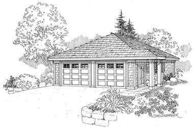 1-Bedroom, 672 Sq Ft Garage House Plan - 108-1651 - Front Exterior