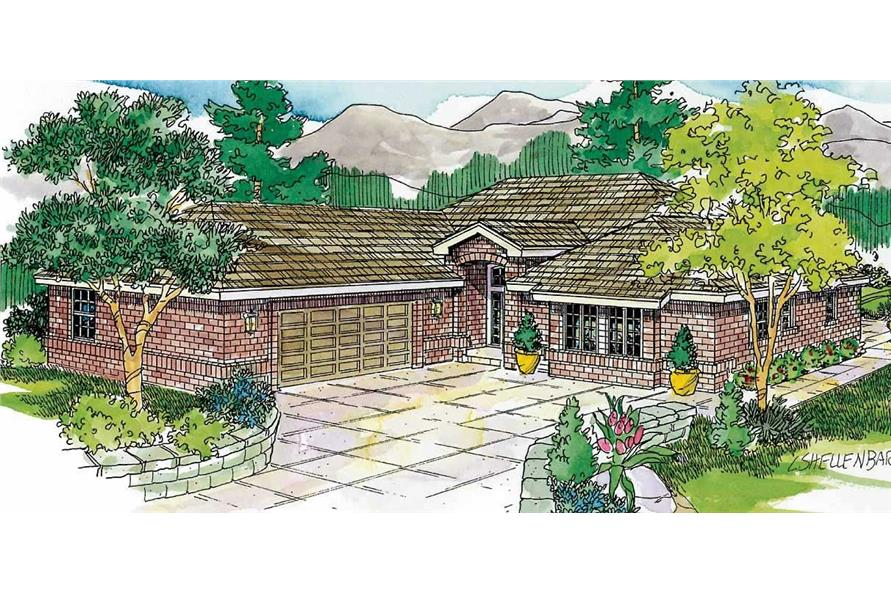 This is a colored elevation of these European Ranch Houseplans.