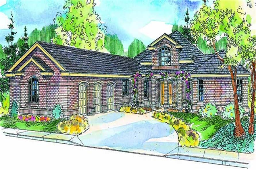 Front elevation of European home (ThePlanCollection: House Plan #108-1659)