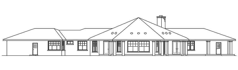 108-1672: Home Plan Rear Elevation