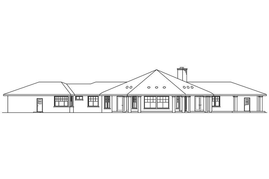 Home Plan Rear Elevation of this 3-Bedroom,2711 Sq Ft Plan -108-1672