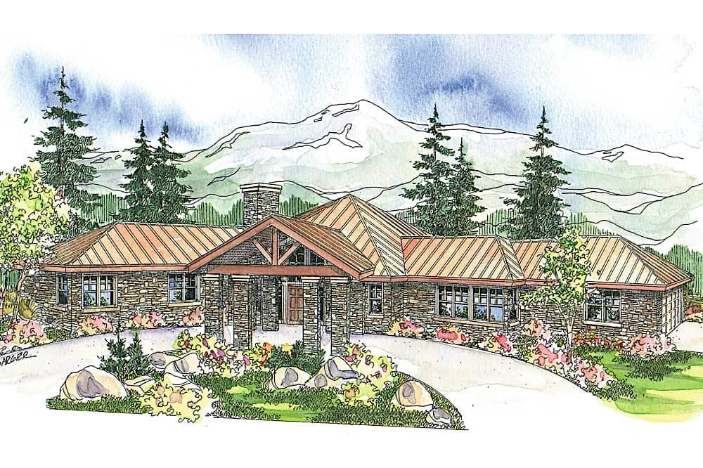 Ranch home (ThePlanCollection: Plan #108-1672)
