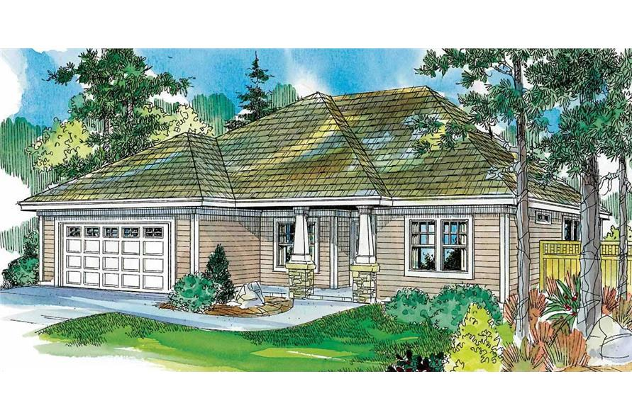This image is a very colorful front elevation for these European Houseplans.
