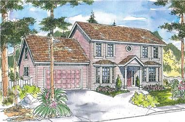 3-Bedroom, 3022 Sq Ft Colonial Home Plan - 108-1677 - Main Exterior
