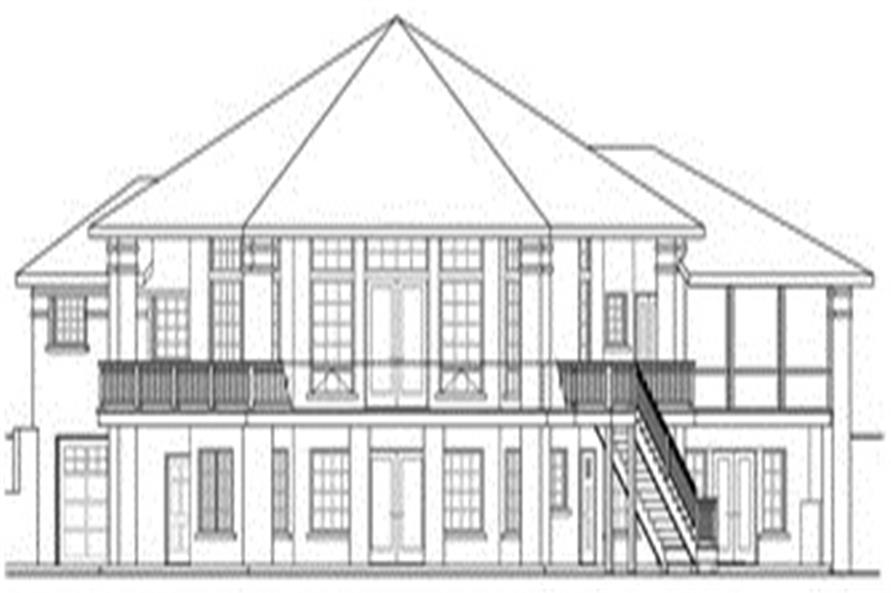 Home Plan Rear Elevation of this 5-Bedroom,3476 Sq Ft Plan -108-1696