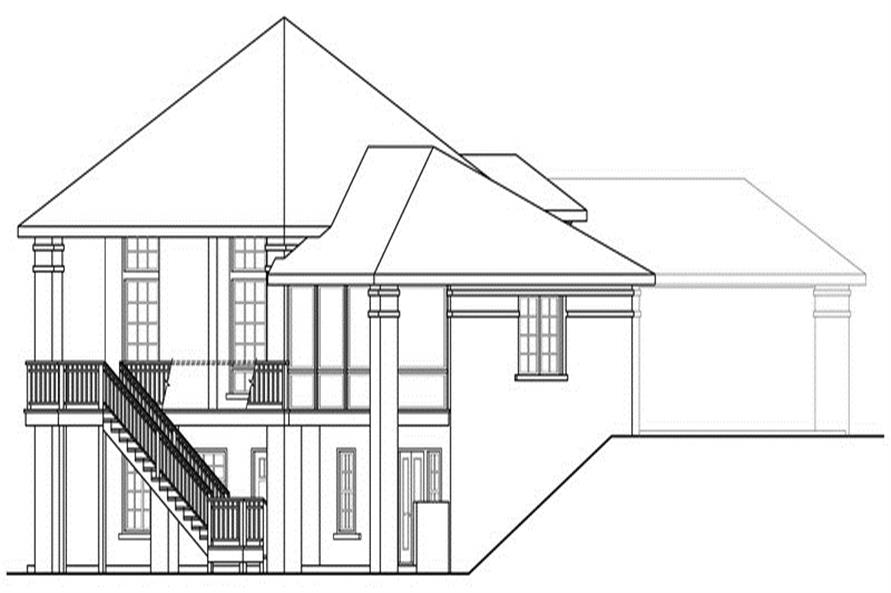 Home Plan Left Elevation of this 5-Bedroom,3476 Sq Ft Plan -108-1696