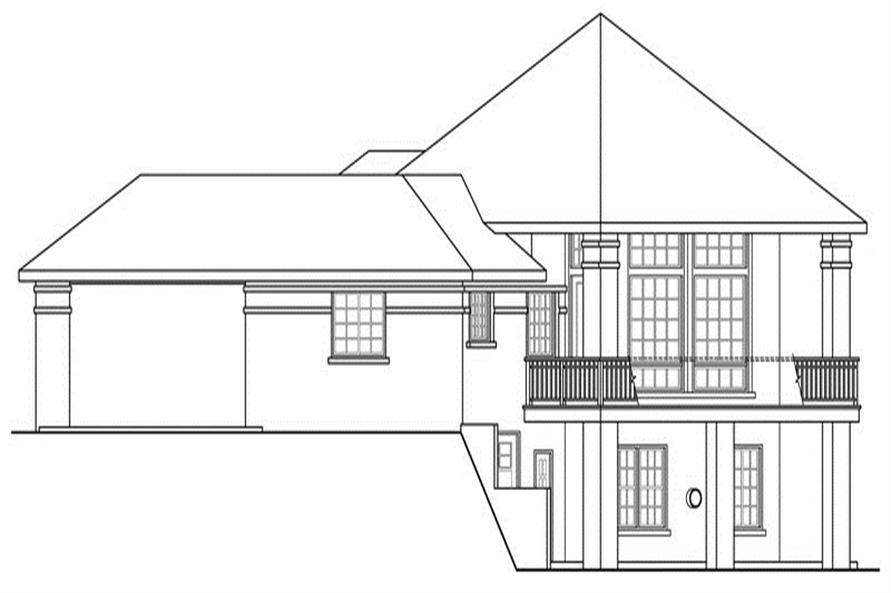 Home Plan Right Elevation of this 5-Bedroom,3476 Sq Ft Plan -108-1696