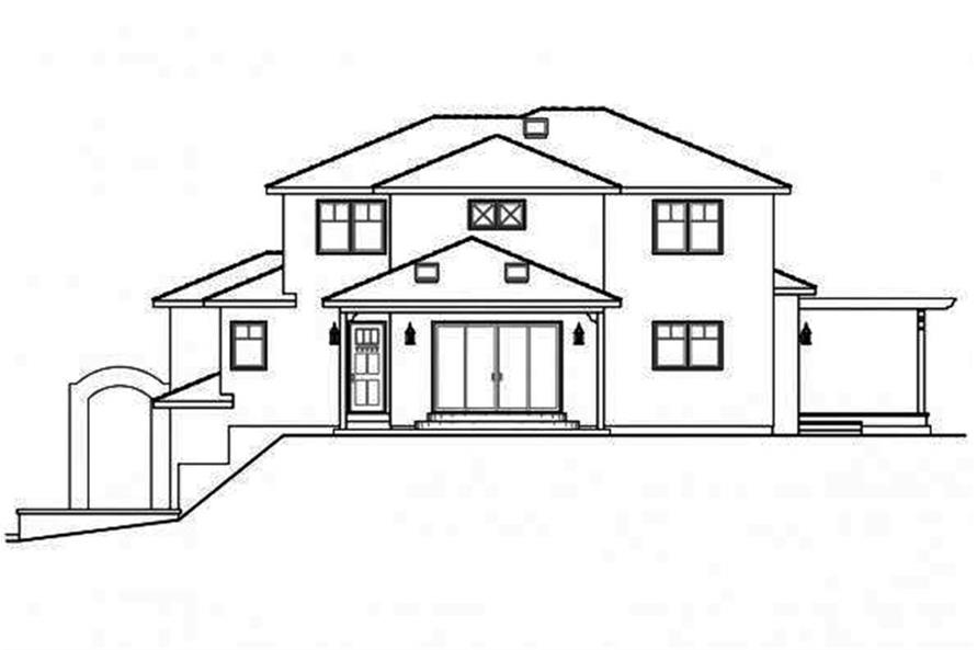 Home Plan Rear Elevation of this 3-Bedroom,2429 Sq Ft Plan -108-1698