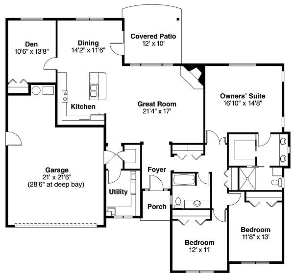 Country ranch small house plans southern house plans for Ranch house plans 1700 square feet