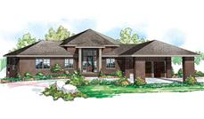 Front elevation of this contemporary home (ThePlanCollection: House Plan #108-1705)