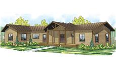 Front elevation of this cabin style home (ThePlanCollection: House Plan #108-1706)