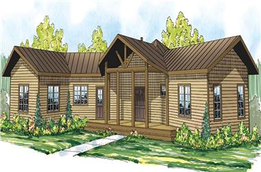 Front elevation of Cabin-style House Plan #108-1706 (ThePlanCollection)