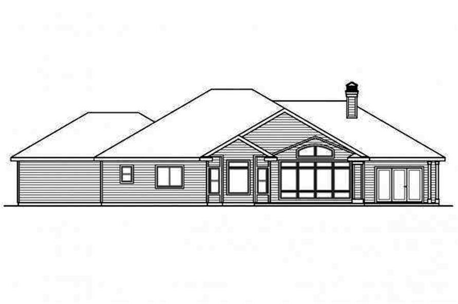 108-1710: Home Plan Rear Elevation