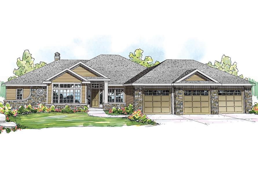 Front elevation of Ranch home (ThePlanCollection: House Plan #108-1710)
