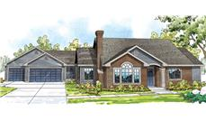 Front elevation of ranch home (ThePlanCollection: House Plan #108-1713)