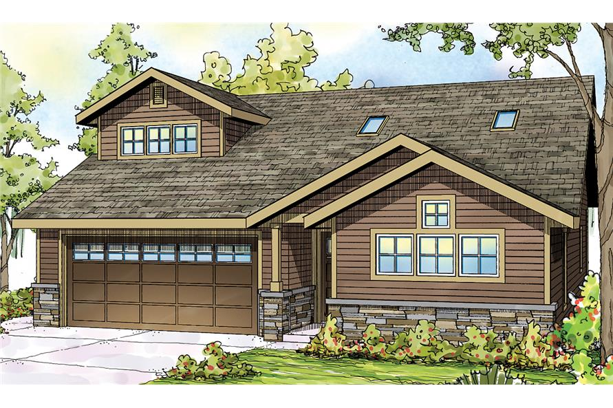 Front elevation of Ranch home (ThePlanCollection: House Plan #108-1716)