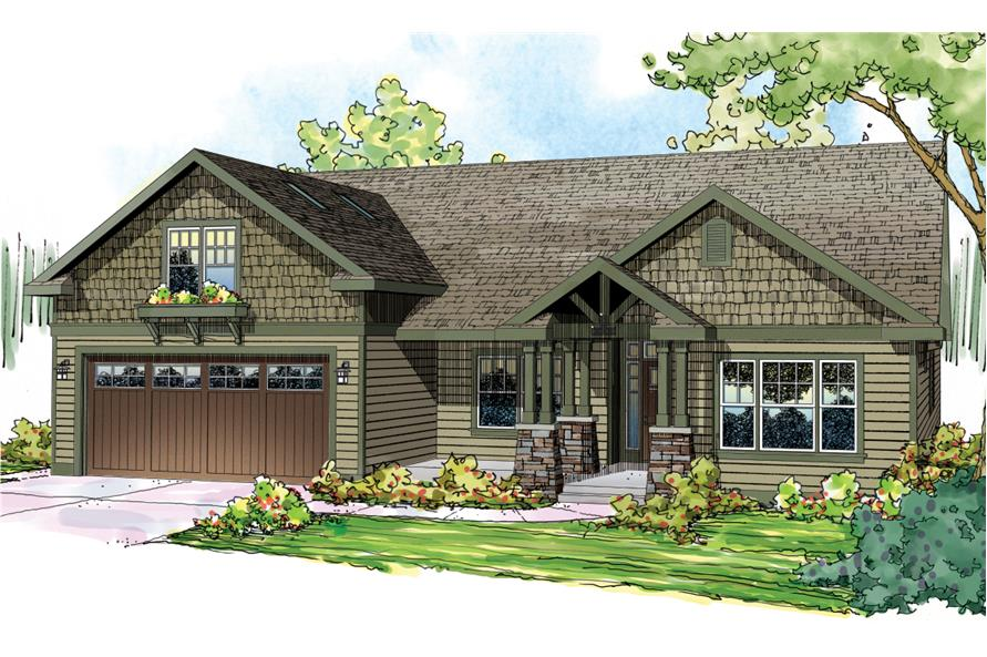 Front elevation of Craftsman home (ThePlanCollection: House Plan #108-1717)
