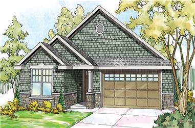 Front elevation of Shingle home (ThePlanCollection: House Plan #108-1719)