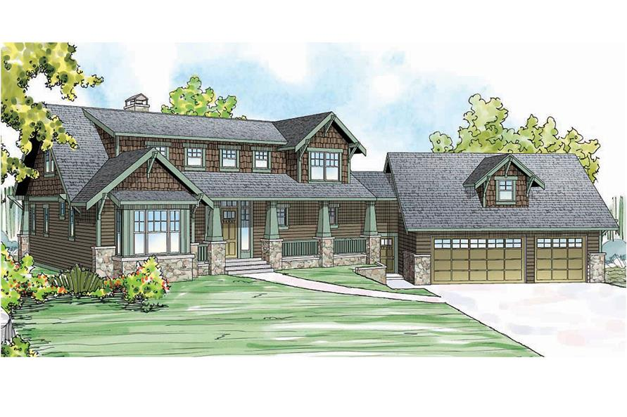 Front elevation of Craftsman home (ThePlanCollection: House Plan #108-1720)
