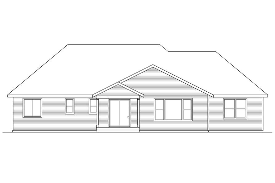 108-1722: Home Plan Rear Elevation
